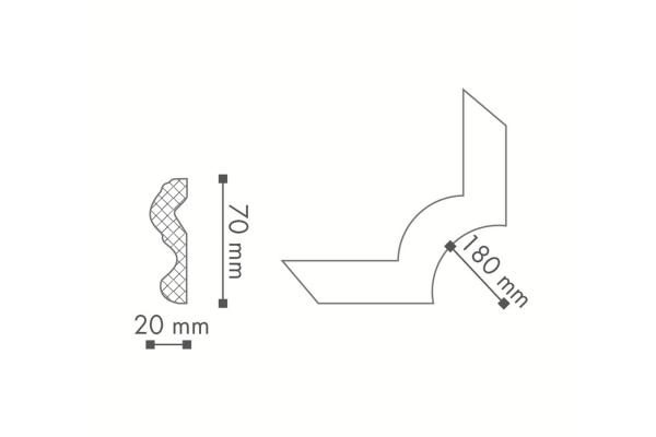Dekorlist hjørne N24 fra Deco Systems