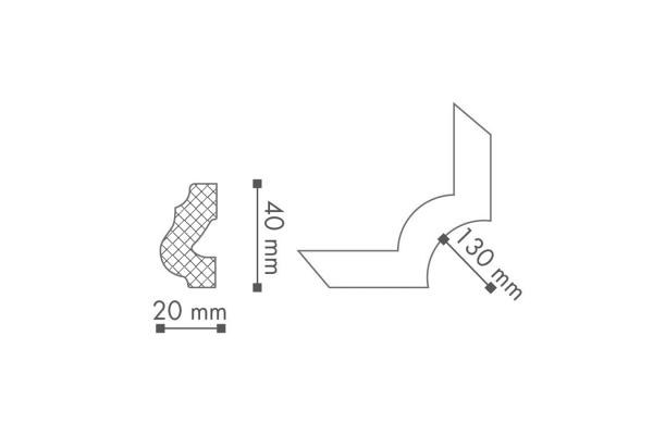 Dekorlist O16 Hjørne Teknisk fra Deco Systems