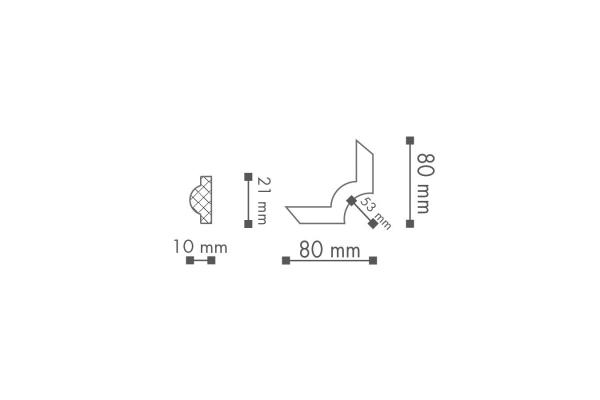 Dekorlist SP2-4 Hjørne teknisk fra Deco Systems