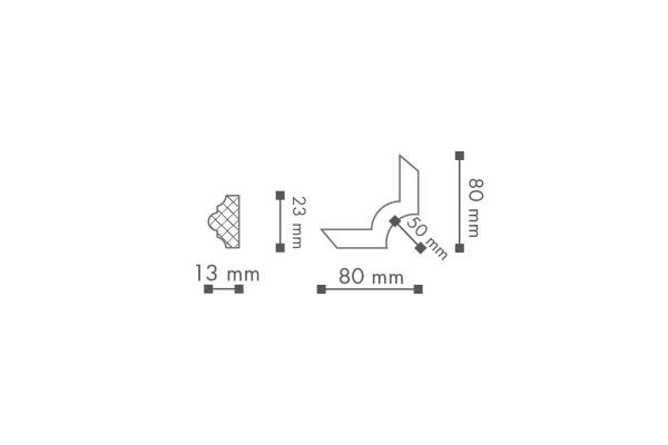 Dekorlist SP3-3 Hjørne Teknisk fra Deco Systems