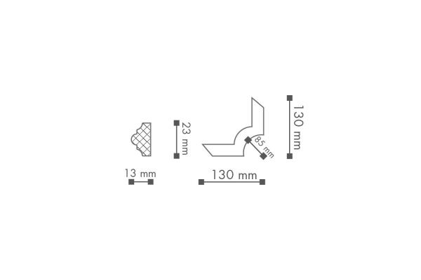 Dekorlist SP3-4 Hjørne Teknisk fra Deco Systems