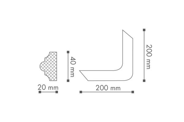 Dekorlist Z101 Hjørne Teknisk fra Deco Systems
