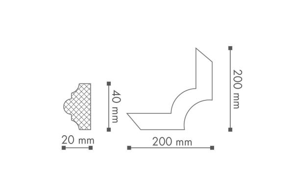 Dekorlist Z102 Hjørne Teknisk fra Deco Systems